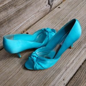 Cute sexy teal blue kitten heel peep toe shoes 7